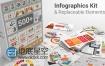 AE模板500种图形套件数据统计地图信息图表图标动画商业分析