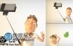 AE模板LOGO片头动画三维卡通角色玩自拍
