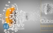 C4D工程:三维立体白色立方体颗粒爆炸标志演绎动画