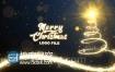 AE模板圣诞节闪闪发光粒子圣诞树路径动画