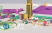 C4D与E3D低多边形模型场景搭建物体