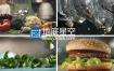 视频素材:实拍各种美味蔬菜水果汉堡美食