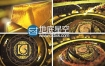 AE模板大气金色的三维logo标志演绎动画