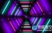 视频素材:炫酷LED霓虹灯隧道灯