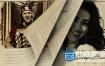 AE模板复古素描视频定格绘图书本翻页电影人物介绍动画