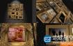 AE模板3D金色框架婚礼纪念日家庭合照生日祝福相册动画