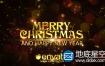 AE模板金黄色的粒子圣诞节新年快乐片头文字动画Christmas Wishes