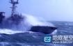 视频素材:大气磅礴的军舰海上霸气航行激起海浪实拍视频