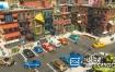 3D模型:城市低多边形楼房人物模型
