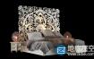 3D模型:东方风格床模型Krovat Bed in Oriental Style 3d Model