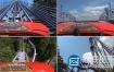视频素材:实拍第一人视角过山车游乐园视频