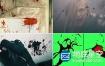 视频素材:294个实拍血液喷溅流血恐怖电影战争打斗场景血迹特效合成常用素材