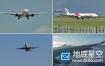 视频素材:实拍国内航空公司机场飞机起飞降落滑行空中飞行