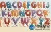 AE模板-卡通字符字母表排版logo展示动画