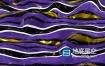 视频素材:三维条纹融化表面反射斑马紫金色球体抽象视觉波浪动画效果