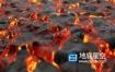 视频素材:4K火山喷发流动熔岩岩浆背景素材