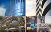 视频素材:高端大气三维建筑生长楼房玻璃反射天空