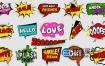 视频素材:40个卡通动画综艺节目搞笑彩色贴纸动画