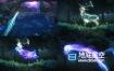 AE模板-魔法粒子河流森林草地鹿动物光效形状路径LOGO演绎片头动画