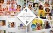 AE模板-马赛克拼贴画廊多屏幕组合照片幻灯片相册变化logo标志动画