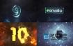 AE模板-3种不同风格玻璃质感史诗级电影大气数字破碎科技10秒倒计时logo片头动画