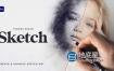 AE模板-快速生成数字绘图铅笔素描人体肖像速写线框动画 Sketch