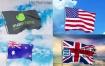 AE模板-逼真的国家飘扬旗帜红旗动画