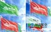 AE模板-旗帜国旗随风飘扬公司logo标志展示动画