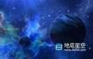 视频素材-抽象的蓝色空间背景与行星和恒星闪耀视频