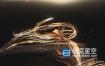 AE模板-唯美漂亮的金色飘带粒子logo标志展示动画