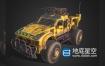 3D模型-锈迹斑斑的黄色武装越野汽车C4D模型