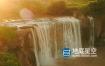 视频素材-4k航拍夕阳下瀑布水流壮丽自然风光