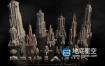 3D模型-C4D科幻未来城市建筑模型