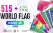 视频素材-515组各个国家旗帜国旗飘动视频素材 Seamless Loop Of World Flags Footages Pack + Alpha