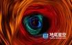 视频素材-通往星际的霓虹发光时光隧道