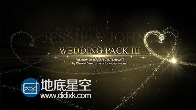 AE模板婚礼照片浪漫美观心形粒子相册动画