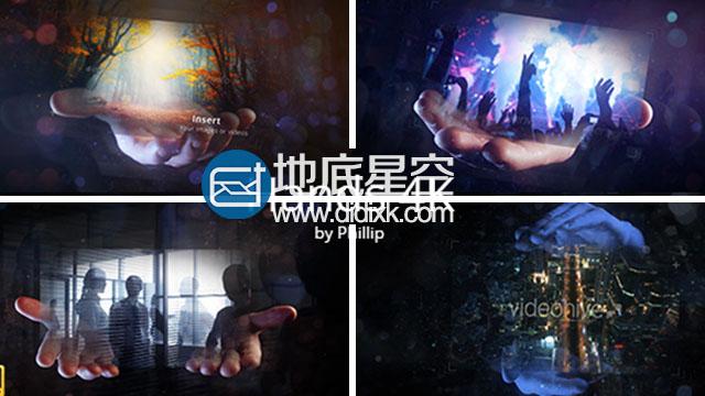 AE模板4K分辨率实拍手持照片魔术高科技全息特效动画