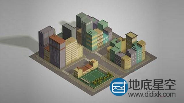 3D模型:低多边形城市街区楼房模型