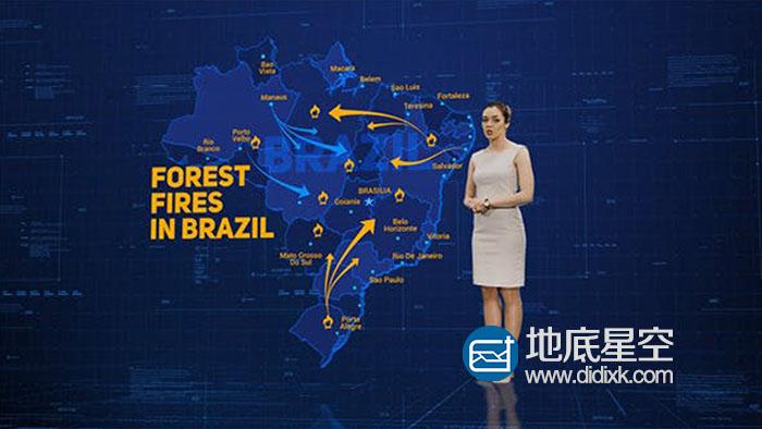 AE模板:高科技HUD军事世界地图天气预报图标定点路径新闻预报演示动画 Broadcast Maps Package