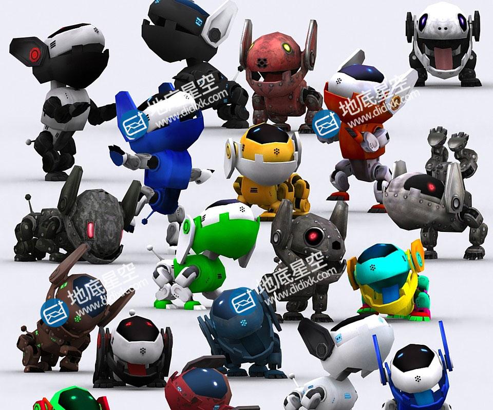 3D模型-可爱机器狗宠物角色3D模型合集