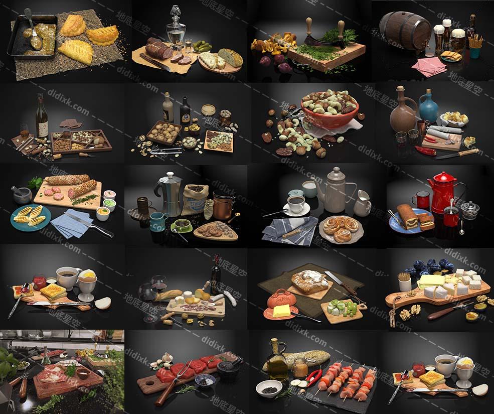 C4D模型-20个高精度餐厅食品食物美食模型