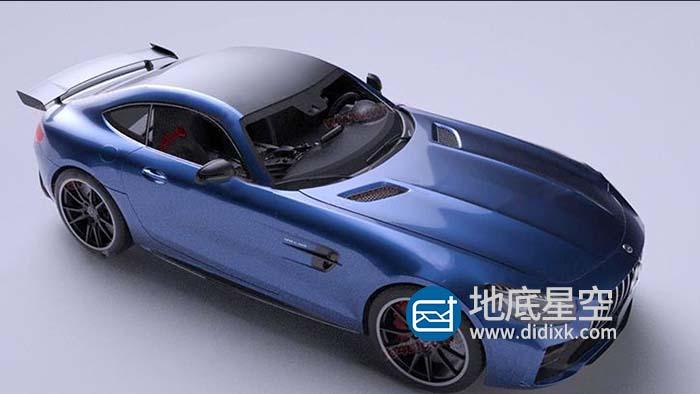 3D模型-蓝色两门奔驰汽车C4D OCTANE渲染模型