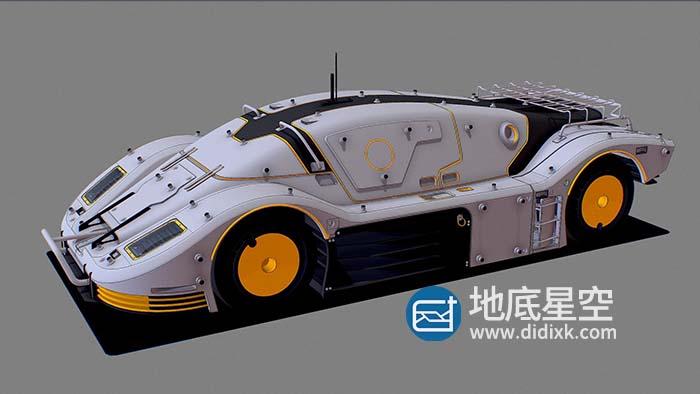 3D模型-抽象科幻概念跑车战车C4D模型