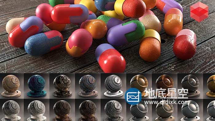 500种C4D Redshift渲染器金属石材混凝土塑料木材玻璃液体科技日常材质预设 Redshift Shader Suite V4
