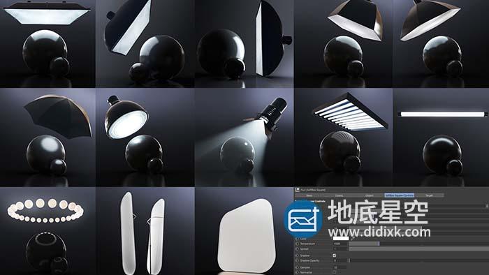 C4D预设-C4D Redshift渲染器舞台灯光照明摄影棚HDRI产品场景渲染预设 Redshift Light Suite for C4D