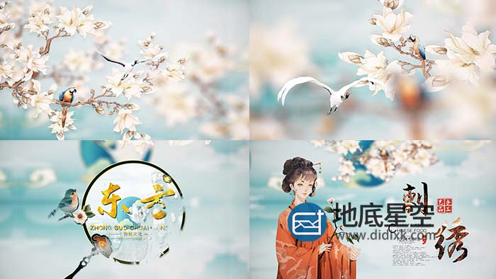 AE模板-简洁中国风复古传统刺绣文化