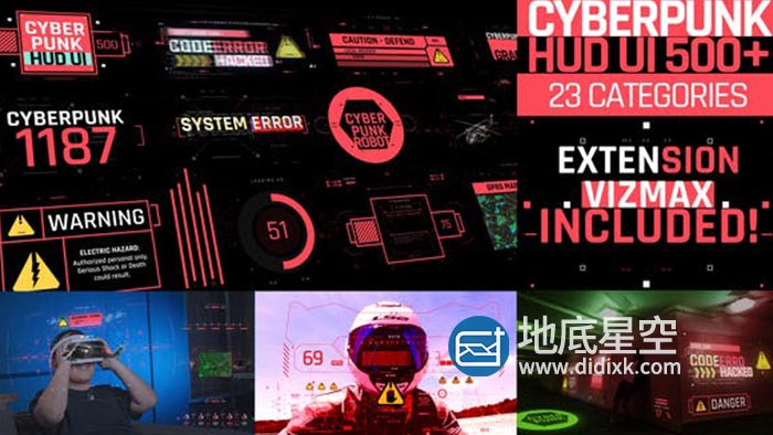 AE脚本-500个HUD科技感赛博朋克用户UI界面科幻屏幕元素动画预设 Cyberpunk HUD UI 500+