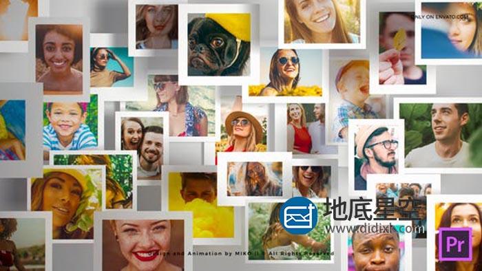 PR模板-多张图片汇聚悬浮LOGO标志片头多照片展示动画 Multi Photo Frames Logo Opener