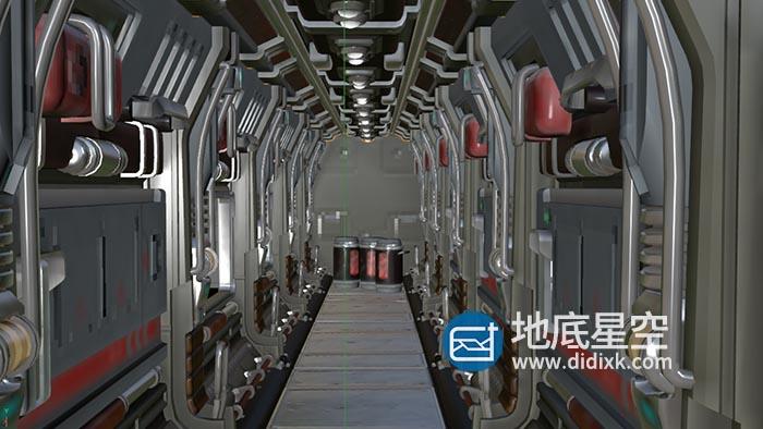 3D模型-C4D科幻走廊机甲舱模型 scifi corridor challenge