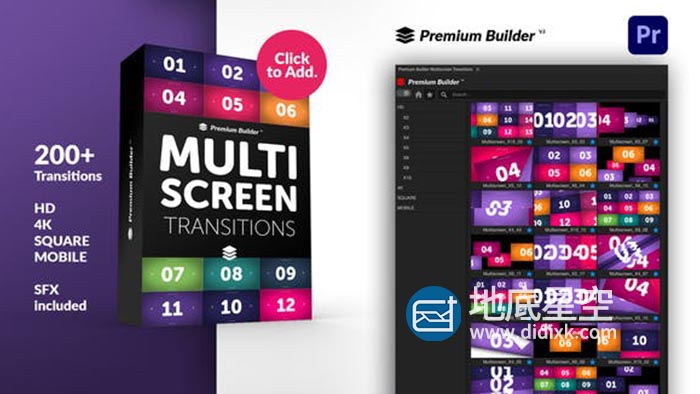 PR脚本-200种视频多屏幕灯光混合移动分屏过渡动态转场预设 Multiscreen Transitions for Premiere Pro